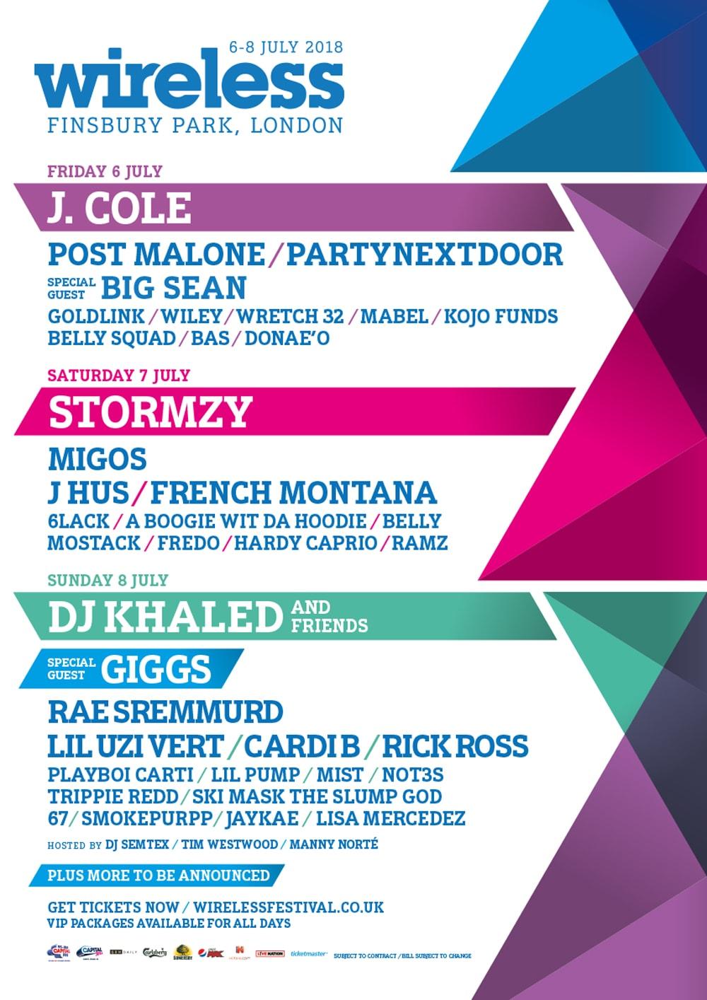 Post Malone Cardi B Migos Lil Uzi Vert Lil Pump J Hus Wiley Wireless Festival 2018 The Weeknd Skepta London