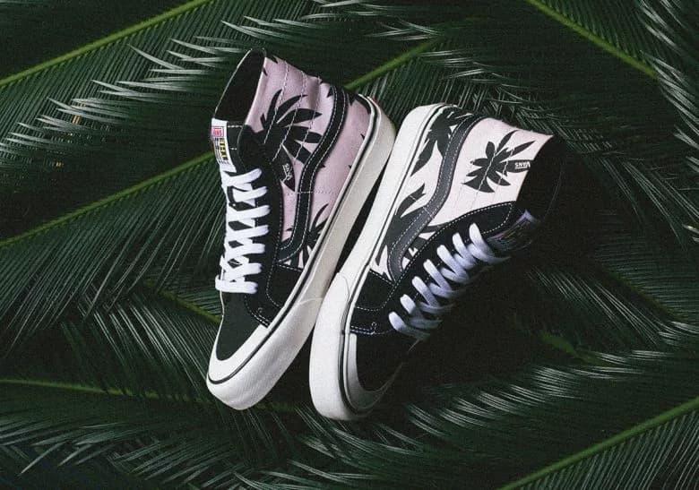 Vans Sk8-Hi Palm Leaf Print Black Pink White Release