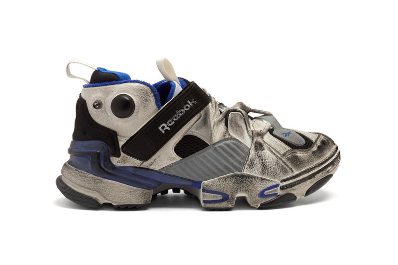 Bulky and pre-distressed. Vetements Reebok Genetically Modified Low Top  Trainer Blue White Black ... 58786cfa1
