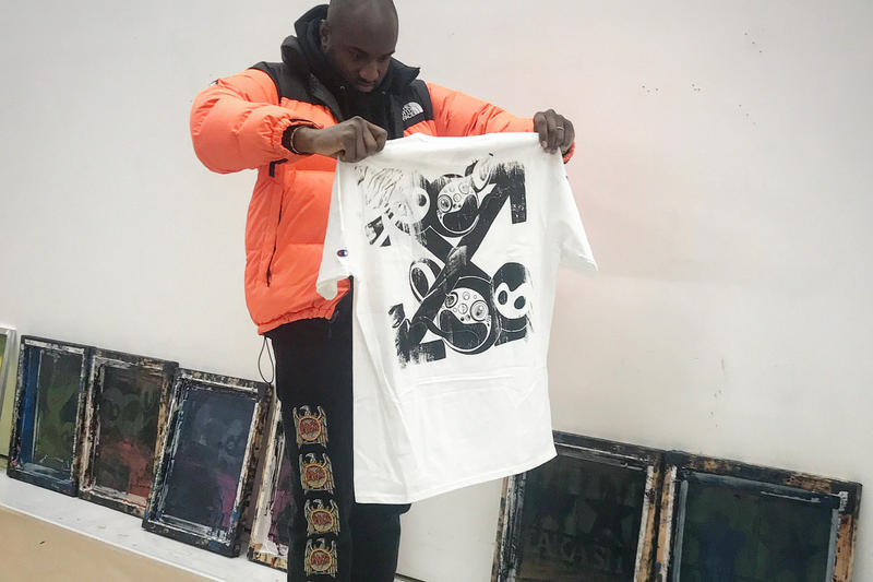 Virgil Abloh Takashi Murakami Screenprint T shirt gagosian gallery london collaborative show studio