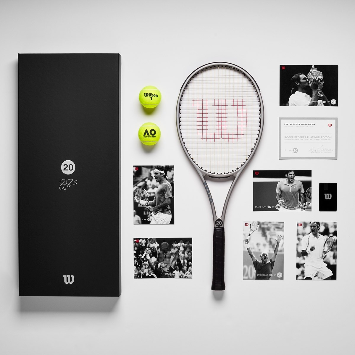 Roger Federer 20th Grand Slam Platinum Edition Racket Package Wilson 2006 autograph