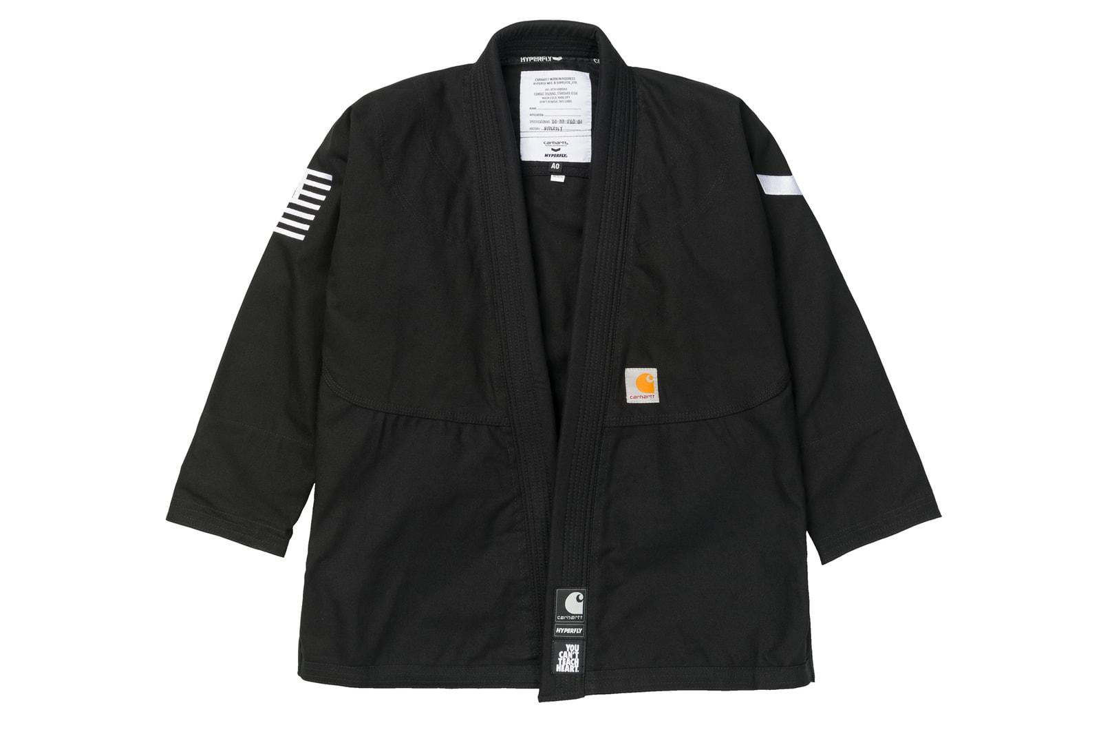 Carhartt WIP Hyperfly kimono gi jiu jitsu set uniform shirt pants tote bag branding squad collaboration clothing drop release date info martial arts black white navy blue hamilton brown tan beige