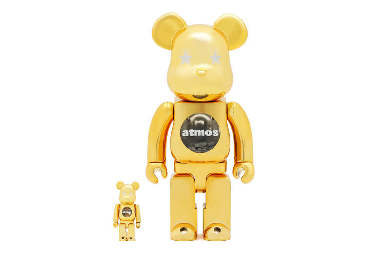 "atmos & Medicom Toy ""Gold Chrome"" BE@RBRICKs collectible figurine design home decor street culture japanese japan"