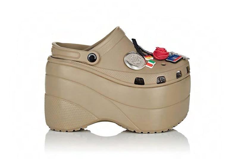Balenciaga Platform Crocs pink tan footwear release info drops date pre order Barneys New York