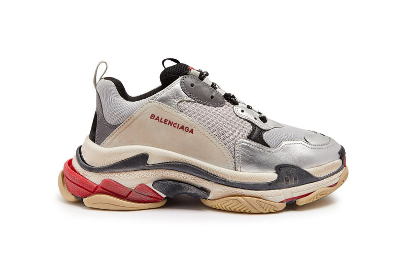 Balenciaga Triple S Distressed Metallic Silver sneakers shoes footwear 2018 february spring summer release date info