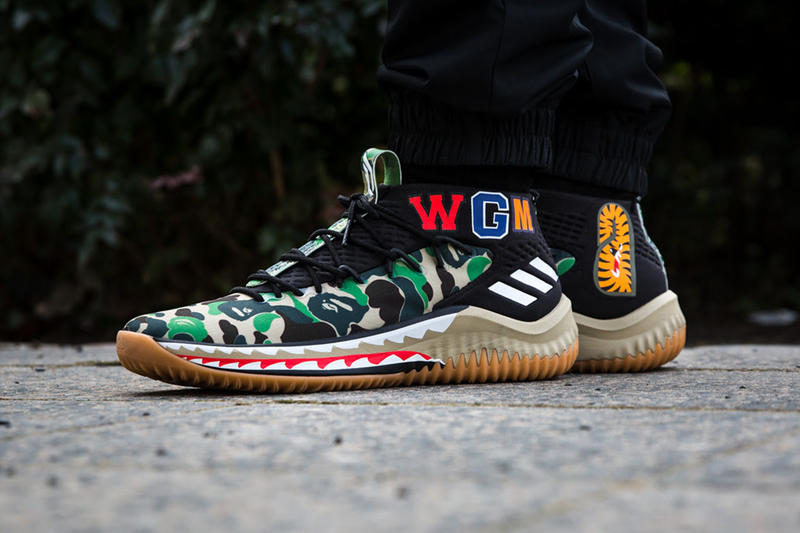 BAPE adidas Dame 4 Green Camo a bathing ape 2018 february release date info all star game sneakers shoes footwear overkill berlin