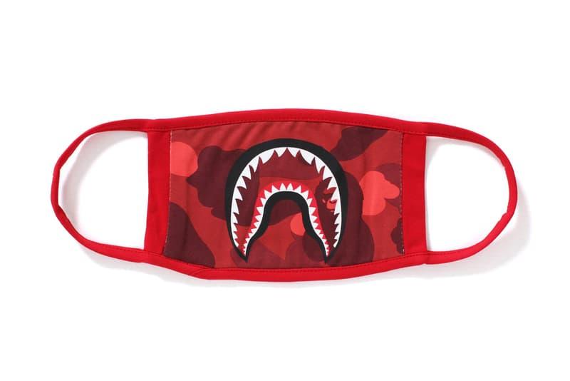 BAPE A Bathing Ape Camo Shark Mask Accessories Streetwear Fashion camouflage abc red purple blue