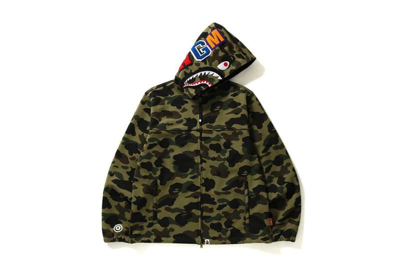 BAPE Windstopper 1st Camo Shark Hoodie Jacket 2018 february 24 release date info camouflage spring summer