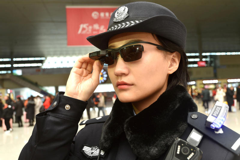 Chinese Police China Facial Recognition Sunglasses Surveillance Zhengzhou Lunar New Year