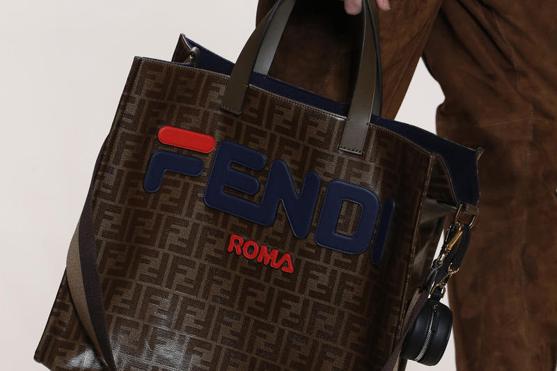 Fendi FILA Collaboration Fall Winter 2018 collection bag tote Runway Leather Sweater
