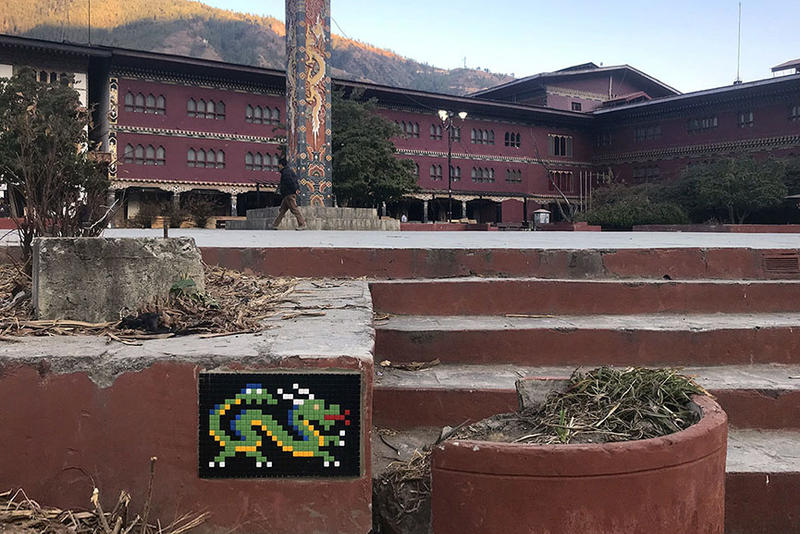 Invader Street Art Artwork Bhutan Buddhist Temple