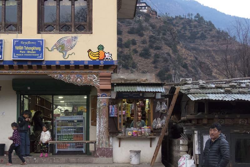 Invader Street Art Artwork Bhutan Buddhist Temple