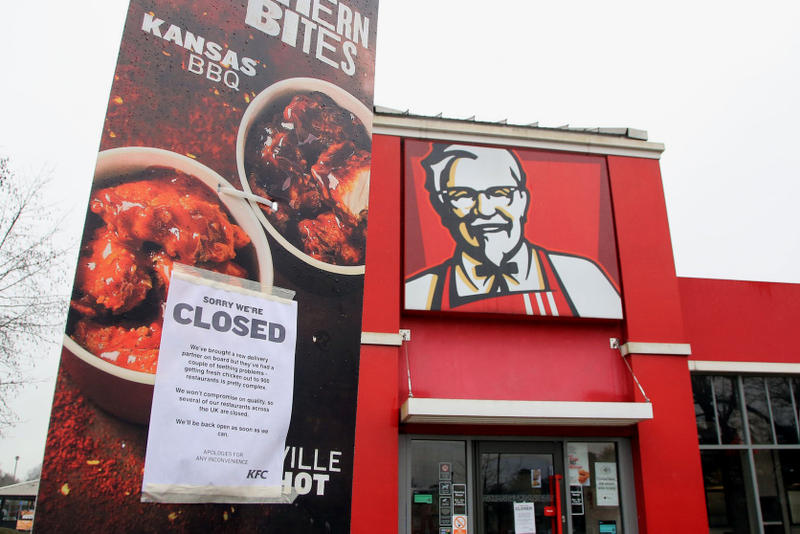 KFC UK Restaurants Shutdown DHL Delivery Issues