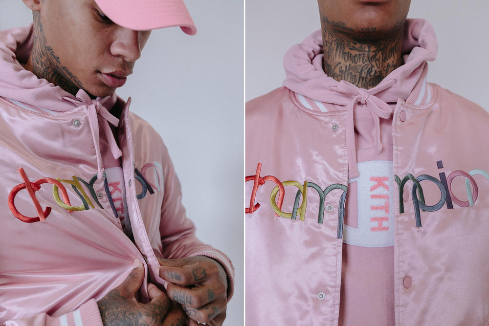KITH Champion Lookbook Ronnie Fieg fashion 2018 march 3 release date info sweatshirts hoodies hats caps reverse weave french terry