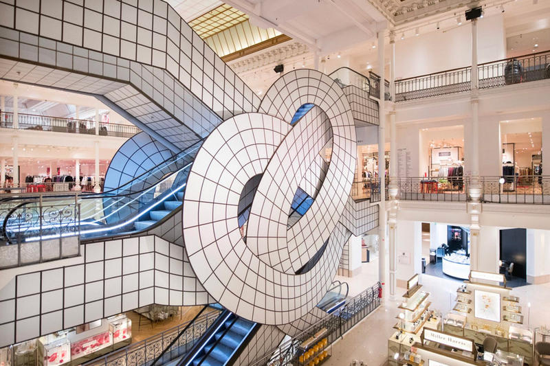 Leandro Erlich Paris Le Bon Marché Installation escalator knot art installation