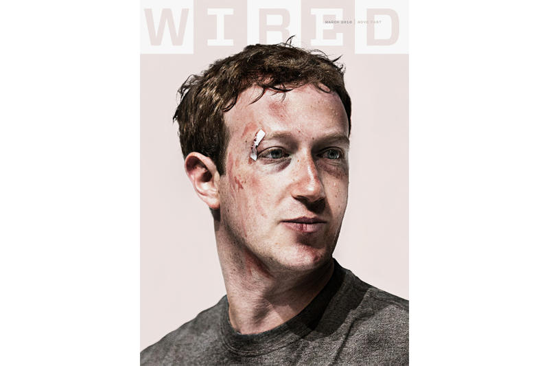 Mark Zuckerberg WIRED Cover 2018 March jake rowland issue bruise black eye scar composite photo