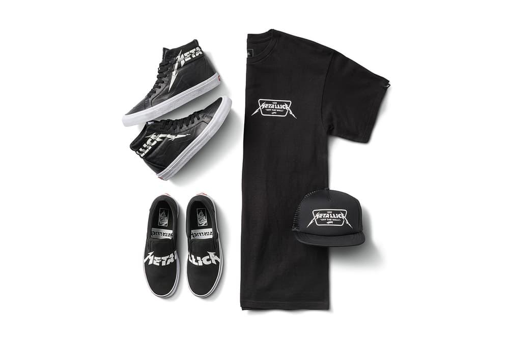 Metallica Vans 2018 Spring Summer Capsule Collaboration sk8 hi classic slip on t shirt trucker cap hat black white february 16 release date info