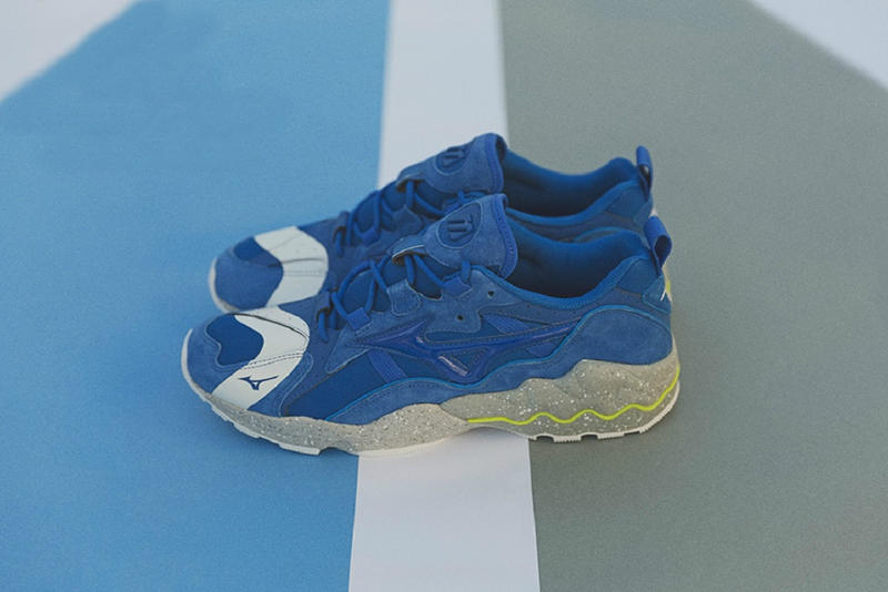 mita sneakers Mizuno Wave Rider 1 No Border collaboration blue sneakers shoes footwear 2018 february release date info