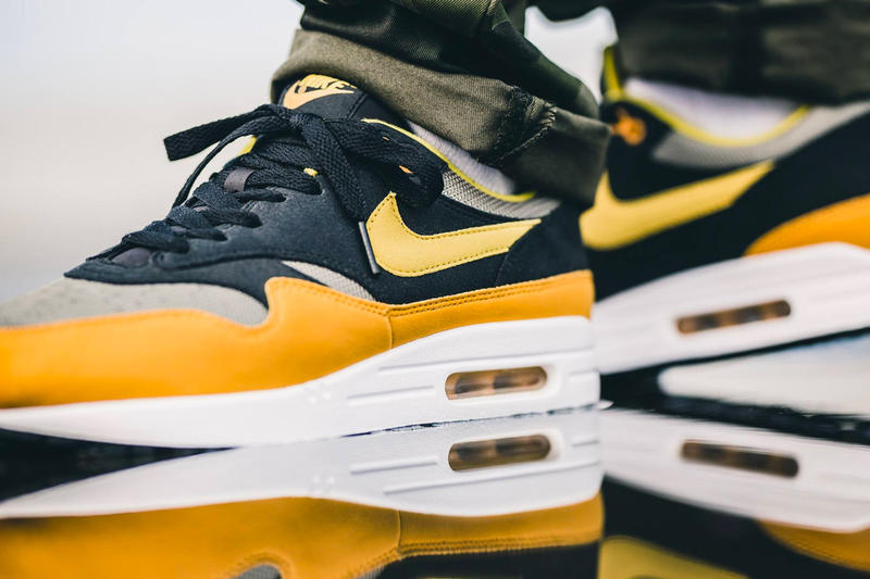 new concept bb871 777e8 Nike Air Max 1 Elemental Gold Black Yellow Grey White Release Info