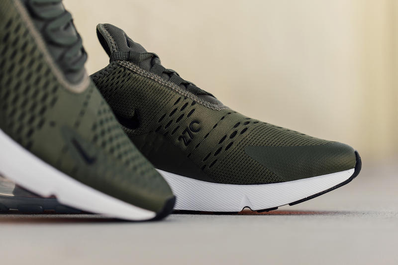 Nike Air Max 270 Medium Olive Closer Look Release Black Total Orange