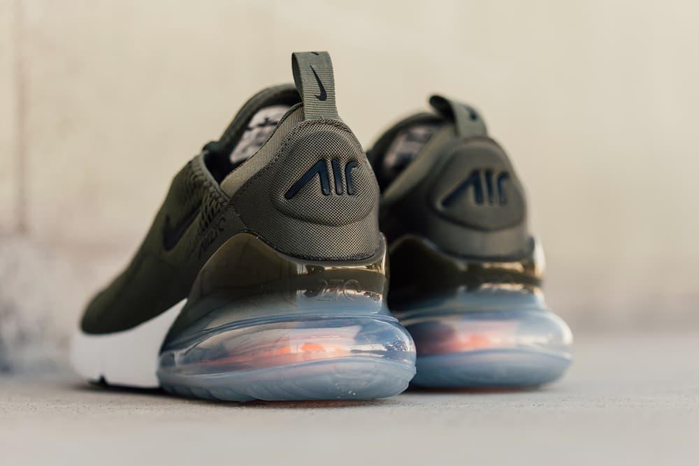 Nike Air Max 270 Medium Olive Closer Look Release Black Total Orange
