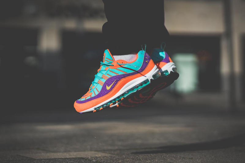 uk availability 89440 649b0 Nike Air Max 98 Cone On Feet orange purple turquoise 2018 february release  date info sneakers