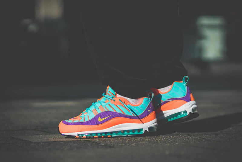 Nike Air Max 98 Cone On Feet orange purple turquoise 2018 february release date info sneakers shoes footwear your yellow hyper grape