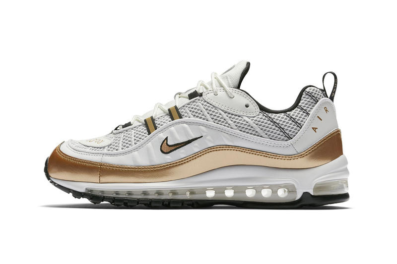 "The Nike Air Max 98 ""UK"" Mixes White With Gold  5c1895cb0"