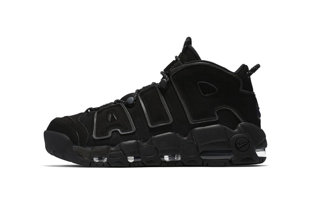 Nike Air More Uptempo Triple Black Reflective 2018 March 18 release date info sneakers shoes footwear supreme collaboration