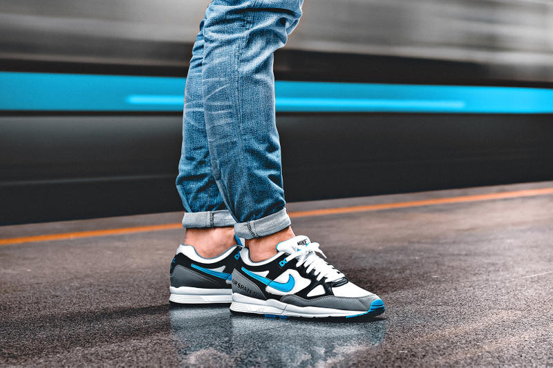 Nike Air Span II On Foot black white dust laser blue footwear
