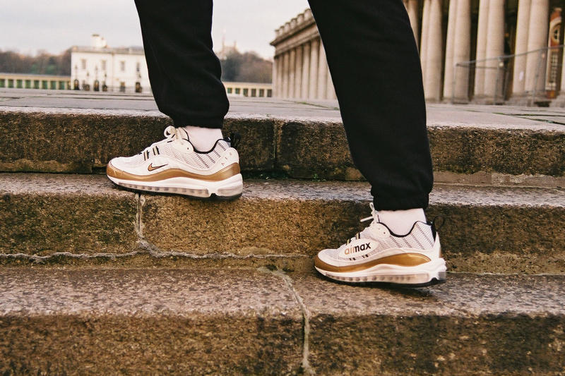 best service 92214 edd23 Nike GMT Pack UK Exclusive Air Max 98 Air Zoom Spiridon WhiteGold Colorway  White