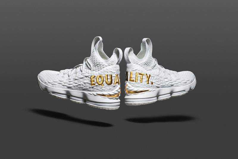 a6920556a1bb5 Nike LeBron 15 Equality raffle draw James footwear 2018 black white gold  sneakers online release