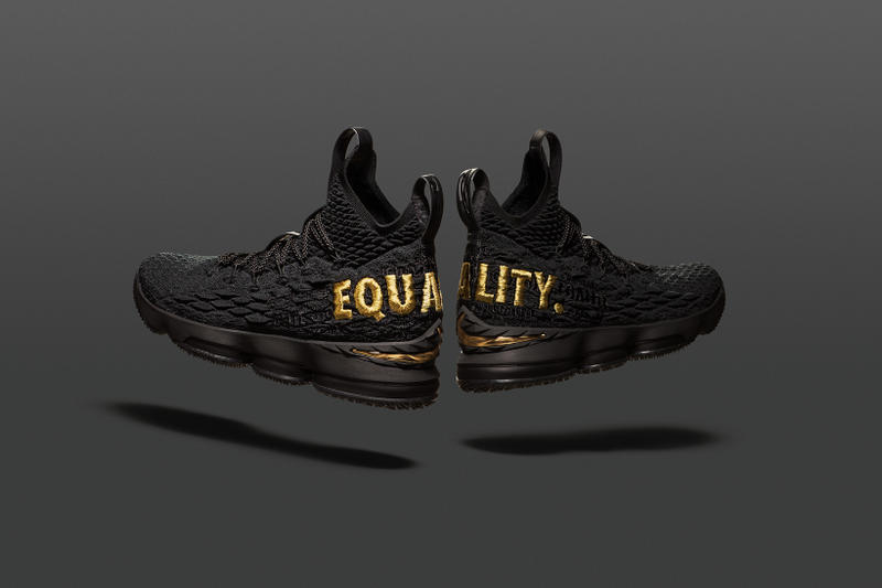 Nike LeBron 15 Equality raffle draw James footwear 2018 black white gold sneakers online release