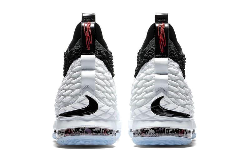 40d2da776f7f Nike LeBron 15 Graffiti Release LeBron James Basketball black white