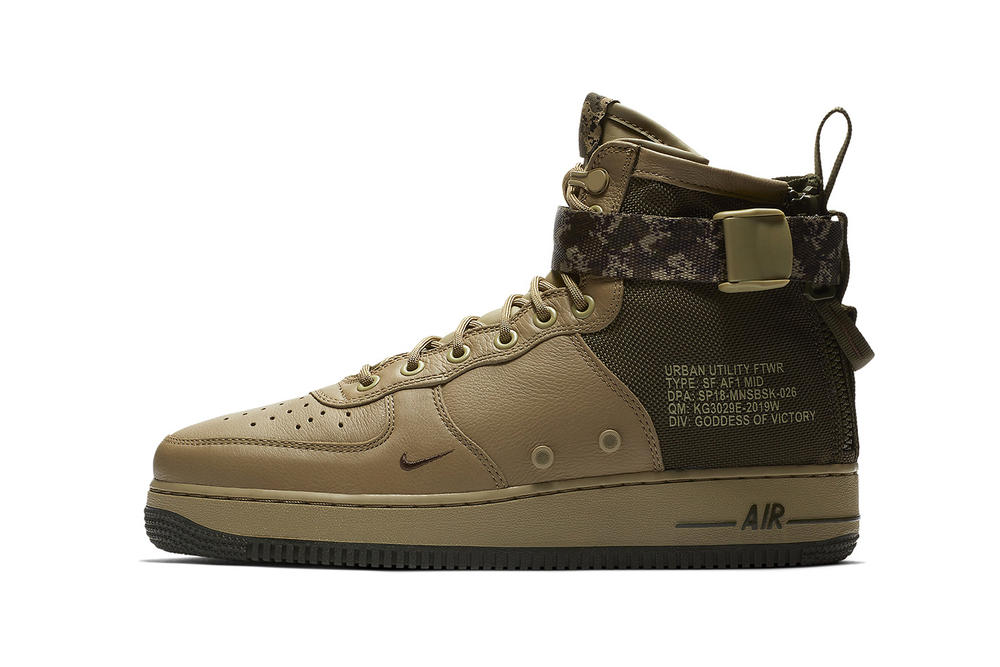 Nike SF AF1 Mid Camo Strap mushroom light bone 2018 february spring release date info sneakers shoes footwear 917753 201