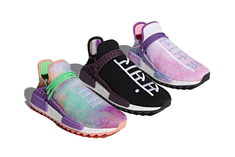 reputable site 5ed85 ead7f Pharrell Williams adidas originals NMD Hu Holi Festival Pack Tie Dye Purple  Green Black Orange