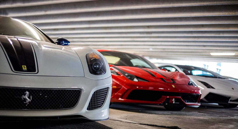 Supercars Collecting Dust Parking Garage Alfa Romeo Aston Martin Chevrolet Chrysler Prowler Ferrari Ford GT Mustang Jaguar Lamborghini Aventador Porsche
