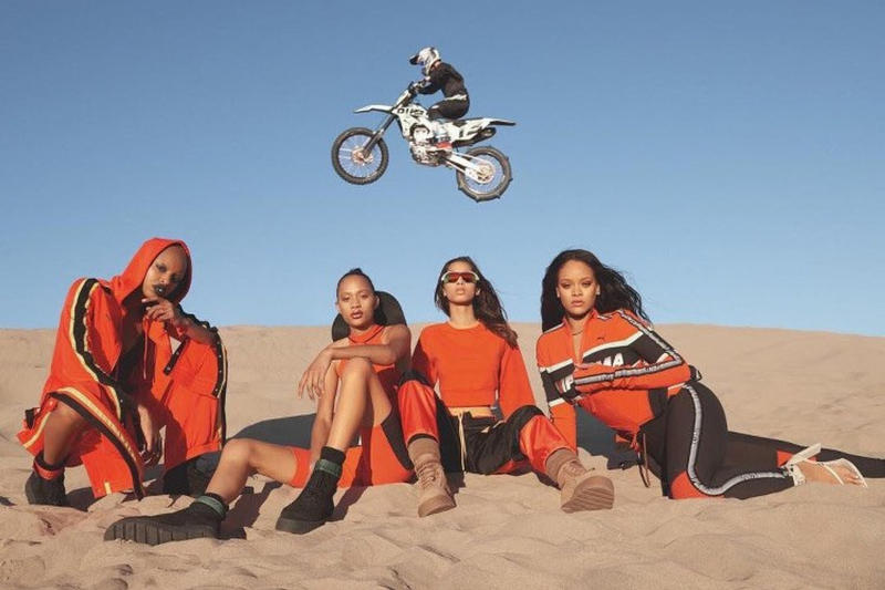 Rihanna Fenty PUMA Spring 2018 Campaign collection motocross release date info drop dirt bike biking imagery