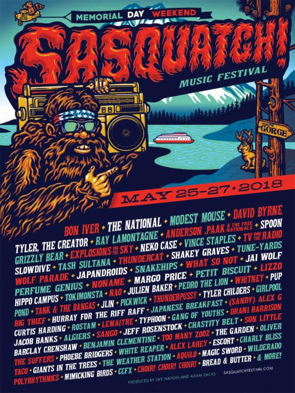 Sasquatch Music Festival 2018 Lineup memorial day weekend may 25 26 27 george washington tyler the creator bon iver vince staples the ntional
