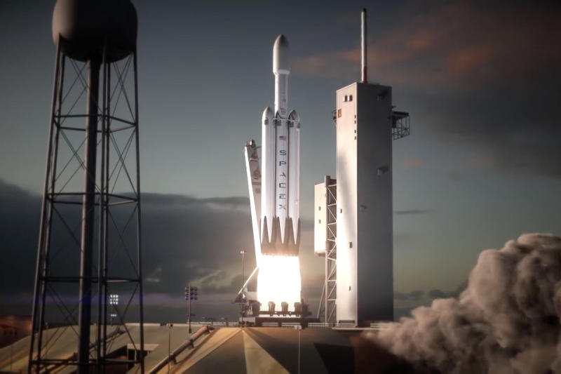 SpaceX Elon Musk Launches Falcon Heavy Rocket Powerful Rocket 30 Years Mars Tesla launch video watch