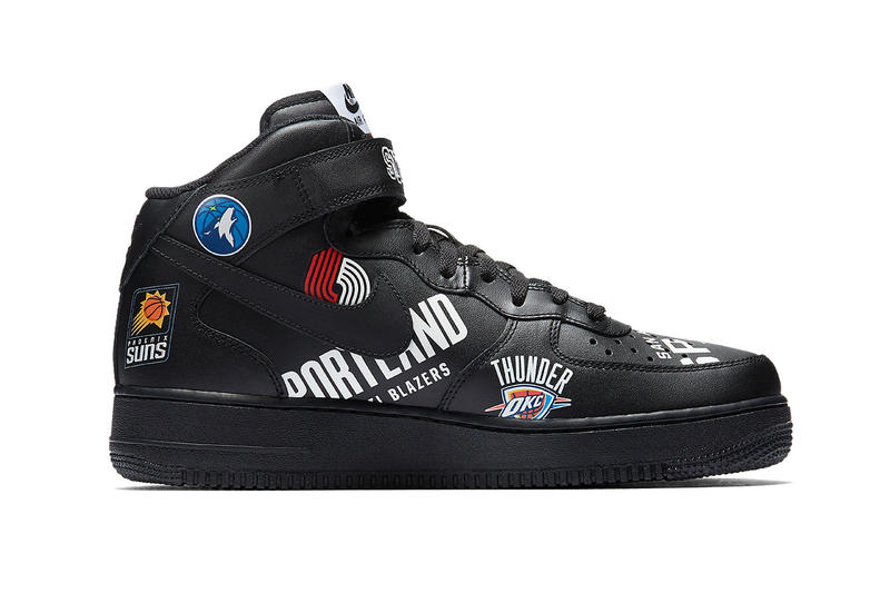 Supreme Nike Air Force 1 Mid NBA black footwear