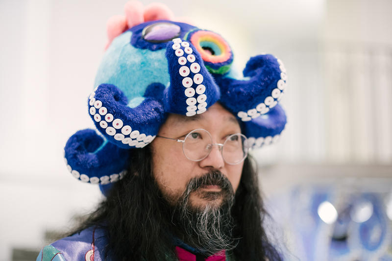 Takashi Murakami The Octopus Eats Its Own Leg Streetsnaps Vancouver Art Gallery Exhibit Display Off White Air Jordan 1 Japanese Art Anime