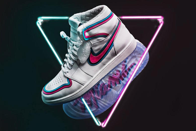 the best attitude 33c5f 12efa The Shoe Surgeon Miami Heat Air Jordan 1 Sweepstakes footwear Twitter Vice White  Pink Teal South. 1 of 4