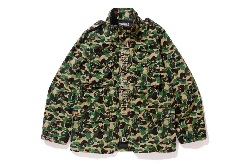 UNDEFEATED BAPE Spring 2018 Collaboration march release date info jackets hoodies t shirts camo camouflage