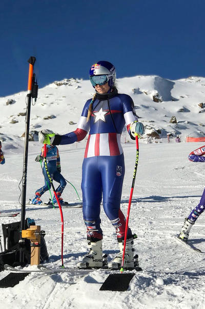 US Olympic Ski Team Marvel Uniforms Captain America Captain Marvel Infinity War Lindsey Vonn Laurenne Ross