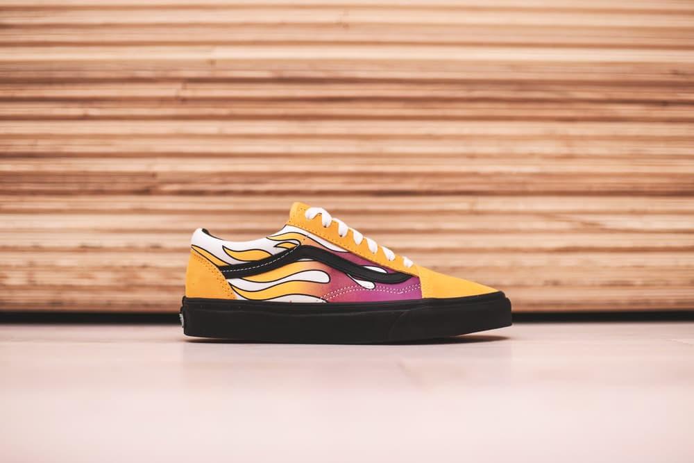 Vans Old Skool Flame Slip On Flame Classic Sneakers Shoes Street Mens Womens Unisex Black Pink Yellow Banana Sidestripe