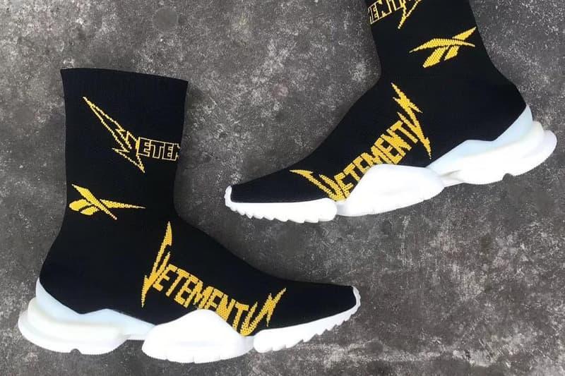 Vetements x Reebok Crew Sock Runner Sneakers Black Yellow Fall/Winter 2019