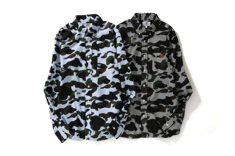 BAPE a bathing ape Blue Black 1ST CAMO STRIPE BD SHIRTS button up down camouflage ape