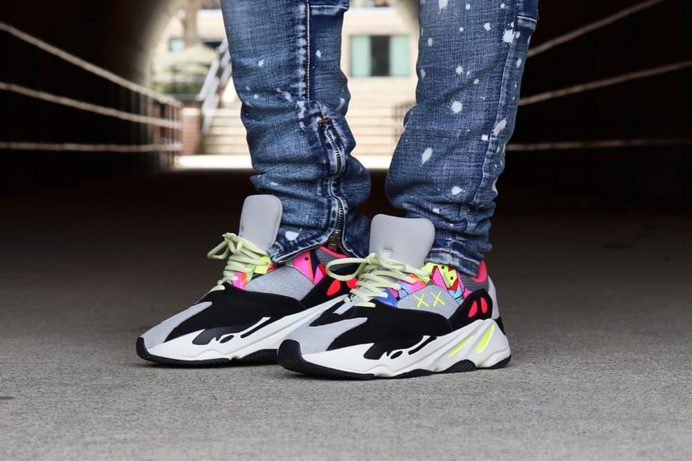 Kaws adidas Originals Yeezy Boost 700 Wave Runners Custom Sneakers Mens Womens Street Woman Man Shoes Summer Spring 2018 Grey Gray Neon Artist
