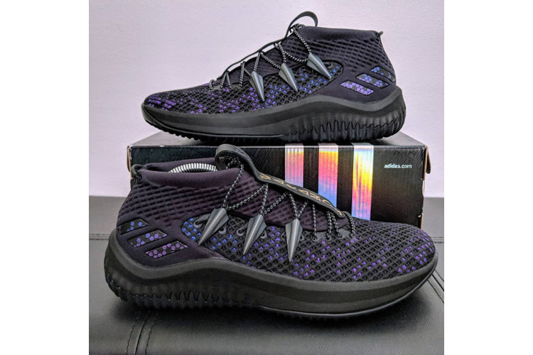 new styles 01a81 d691b adidass DAME 4 Gets a Dose of Vibranium With Black Panther Custom